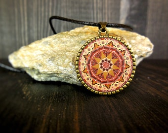 Mandala circular necklace, mental health awareness jewelry, meditation accessories, thanksgiving gift, ornament buddhist, young girl token.