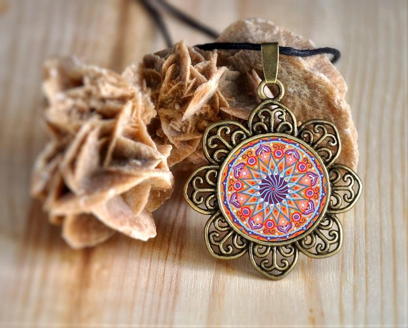 Mandala indian necklace for women hippie pendant interior image 0