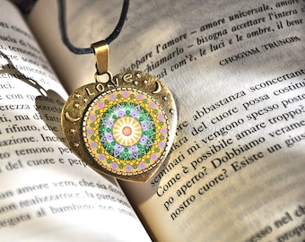 Buddhist mandala, balance jewelry, heart shaped pendant, with moon and stars, love lettering, gift idea for christmas, women, daughter.