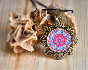 Mandala jewelry, 3 best friend necklaces, boho jewels for women, necklace for strength, meaningful ornament, gift ideas, christmas present.