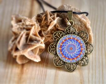 Hippy long circle mandala necklace, new age symbol, energy medallion, thanksgiving present, anniversary gift girlfriend, mother, wedding.