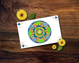 Biglietto di auguri con mandala dipinto a mano e realizzato con acquerelli; piccolo quadro con fiore di loto, idea regalo.