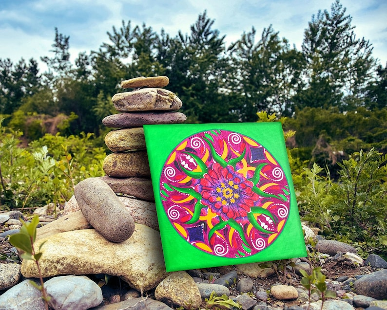 Mandala painting on canvas 12 x 12 inch accessories for image 0