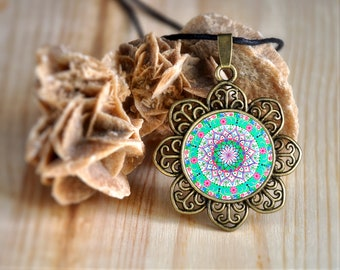 Mandala necklace for spiritual enlightenment, soul searching, sacred geometry print, reiki pendant, rearview mirror decor for protection.