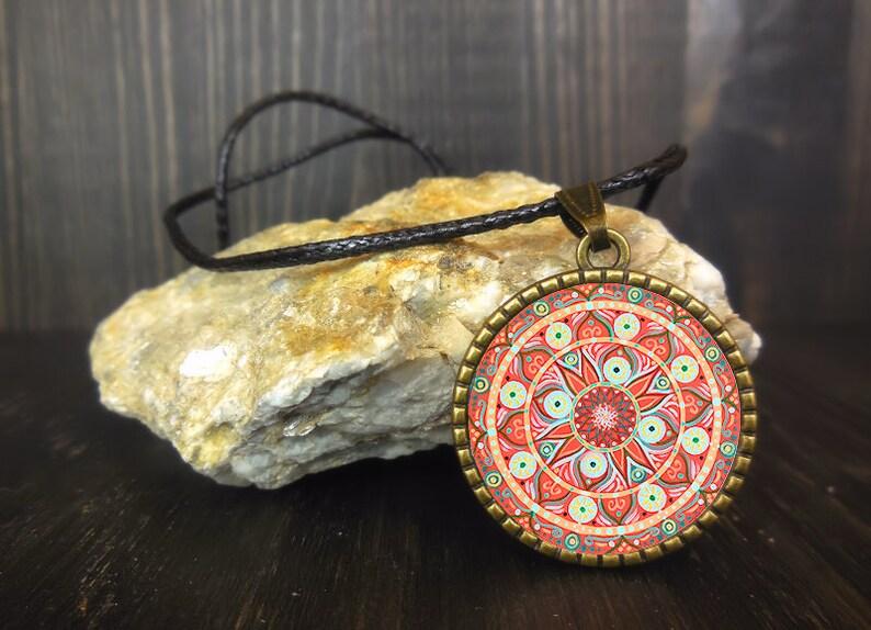 Mandala art print on locket spiritual and protection necklace image 0