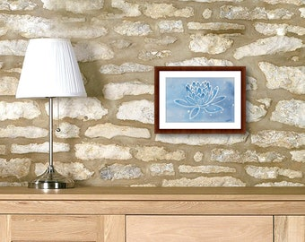 Small lotus painting, religious artwork, spiritual balance, rectangular watercolor, birthday gift daughter, mom, abstract modern wall art.