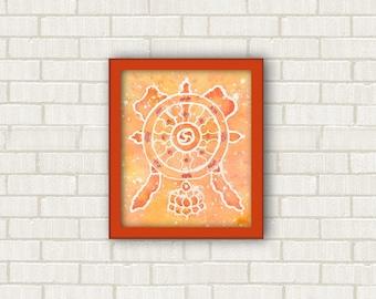 Simboli religiosi buddisti, ruota del dharma, piccolo quadro fatto a mano in Italia, decorazioni per muro, pittura acquerello, stanza yoga.