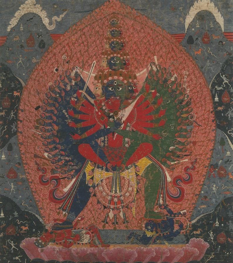 Mahasamvara /& Vajravarahi Contemporary print of vintage Nepalese thanka.