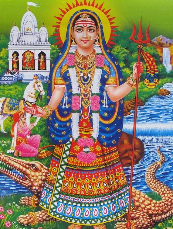 Khodiyar Maa Vintage style Indian Hindu devotional poster print