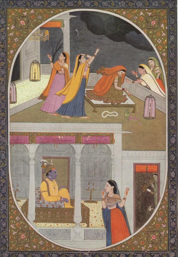 Fine Art Print India Miniature Painting Reproduction Vishnu with Lakshmi