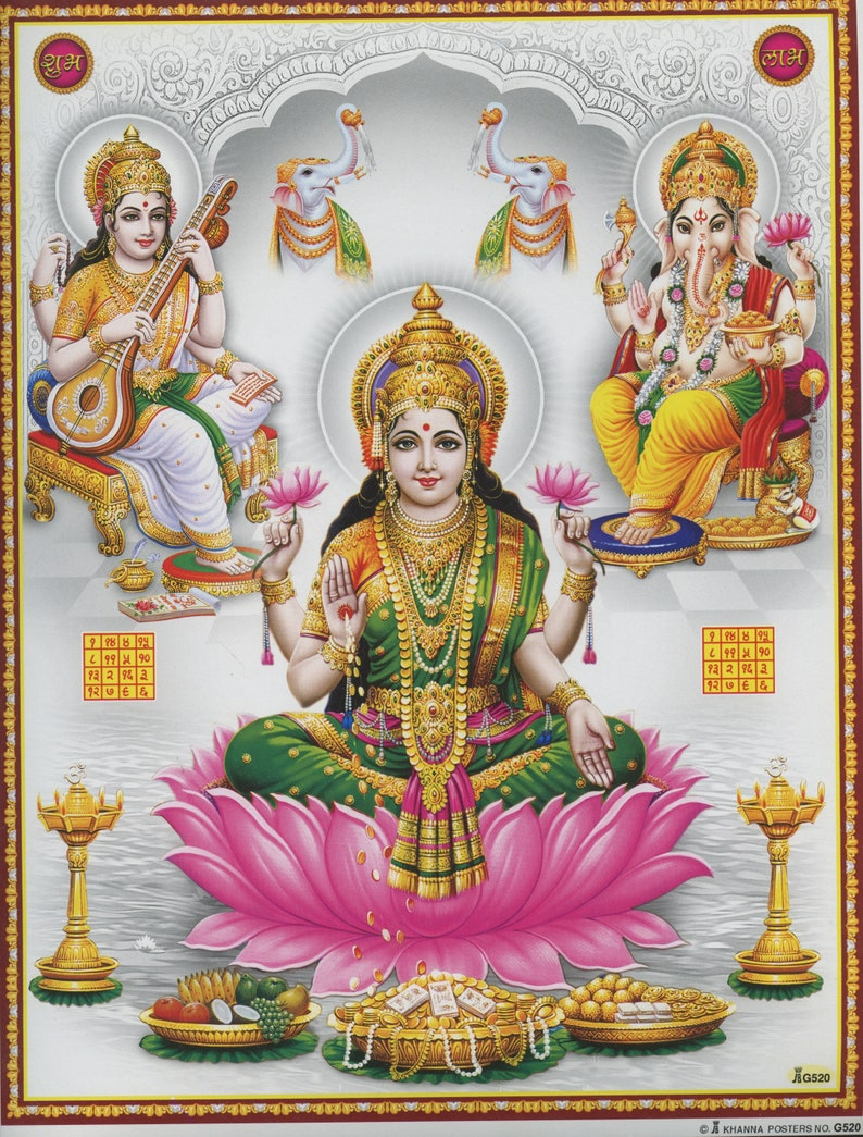 \u00a0Vintage-style Indian Hindu devotional poster print Lakshmi
