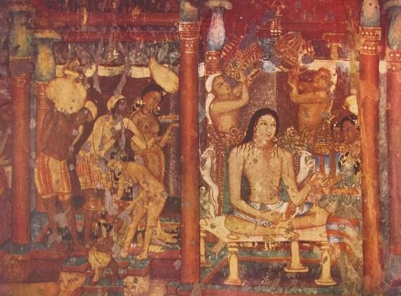Ajanta Caves Paintings Print From 1956