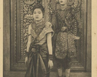 Antique Postcard - Cambodia - Royal Dancers.