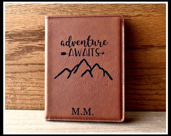 Passport Cover, Leather, Adventure Awaits, Personalized Passport, Custom, Travel Documents Case, Bride, Groom Gift, Anniversary, Christmas