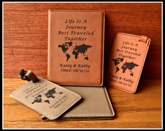 Passport Cover and Luggage Tag Set, Leatherette, Leather, Personalized, Bride, Groom Gift, Anniversary, Christmas, Travel Gift