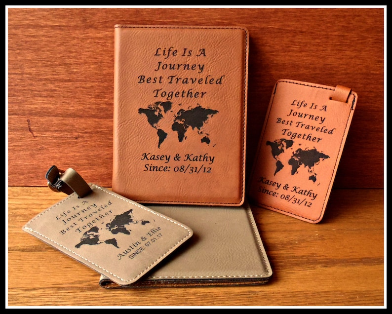 Passport Cover and Luggage Tag Set Leatherette Leather image 0