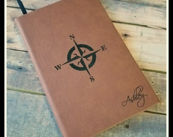 Personalized Leather Journal, Engraved Journal, Lined Journal, Travel Journal, Customized Gift, Custom Leatherette Journal