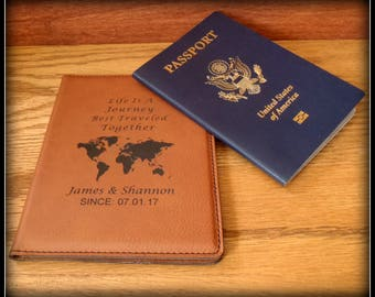World Map Passport Cover, Faux Leather, Personalized Passport Holder, Custom Travel Case Holder, Bride, Groom Gift, Anniversary, Christmas