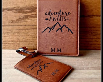 Passport Cover and Luggage Tag Set, Leather, Adventure Awaits, Personalized Passport, Luggage Tag, Bride, Groom Gift, Anniversary, Christmas