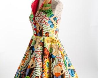 Rockabilly Dress, Pin Up Dress , Vintage 50s Retro dress , Swing dress, Prom Party dress, Lucha Libre dress, Alexander Henry dress