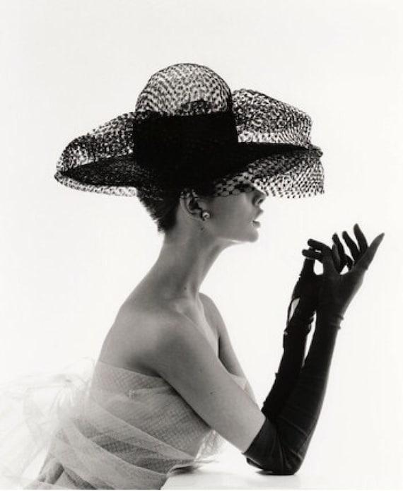 60fd84a9600 Audrey Hepburn Big Hat Classic Art Print Poster Cotton Matt