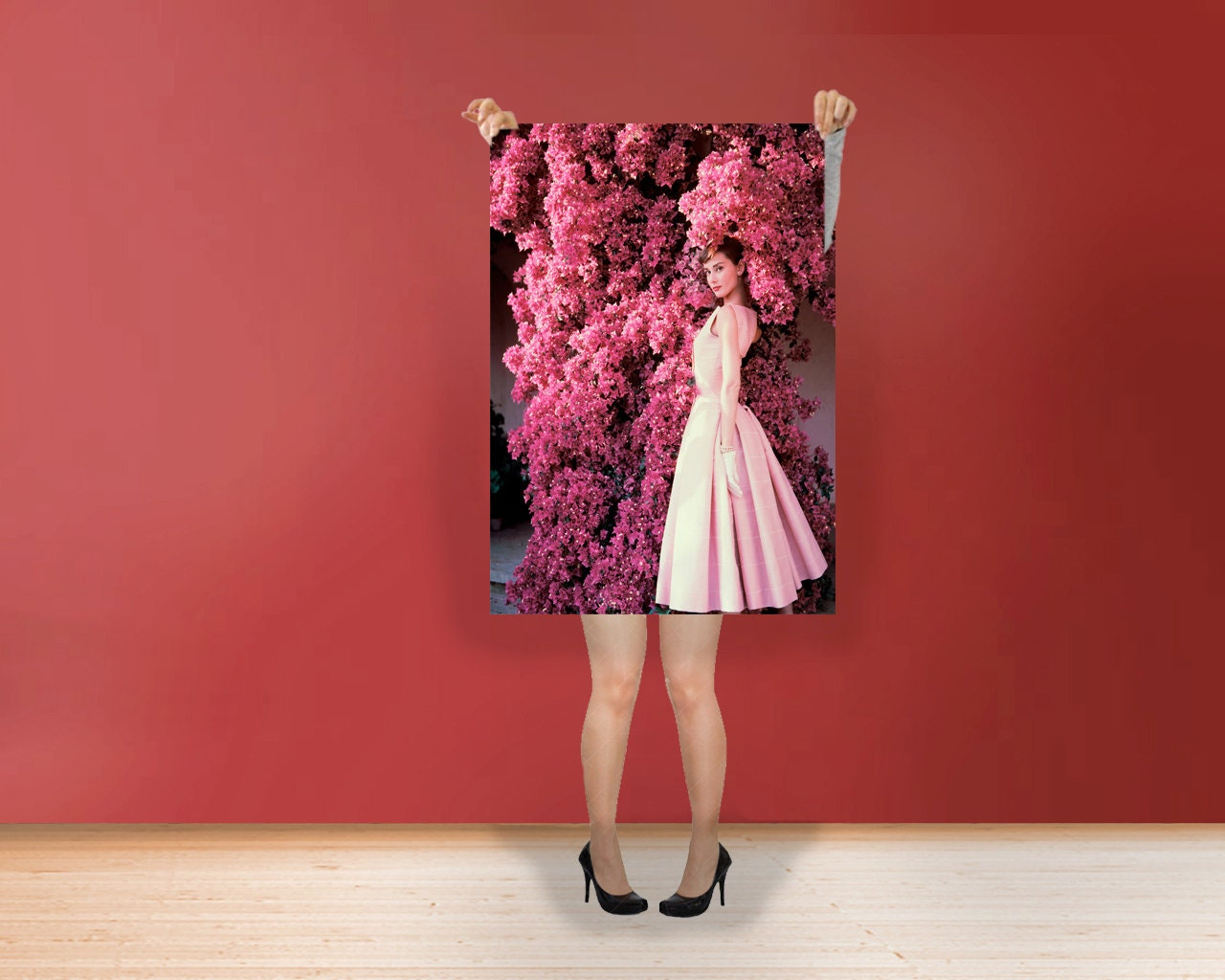 Audrey Hepburn Pink Flowers Classic Print Poster Rolled Etsy