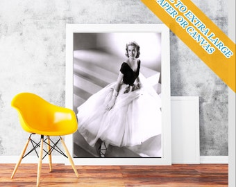 Grace Kelly - Movie Wall Art Print POster Rolled Cotton Matt Canvas Hollywood's Golden Age Famous Film Photo