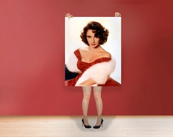 Elizabeth Taylor Wall Print Hollywood's Golden Age Most Famous Film Stars Poster Rolled Photo