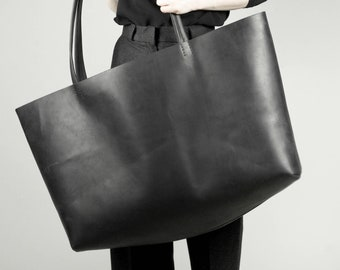Large Leather Tote Leather Tote Women Leather Tote Bag Black Leather Tote Bag Shopper bag Oversize leather bag - M73