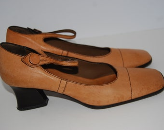 4effac1c6 Vintage PRADA Tan Leather Mary Jane Style Shoes Size 37 Made in Italy Retro