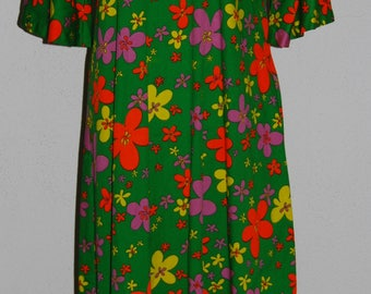 Vintage Handmade Floral 60's Hippie Dress