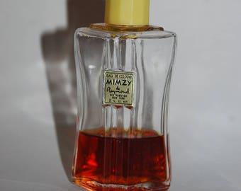Vintage 1930's Eau de Cologne MIMZY de Raymond 2 oz  approx. 35% full