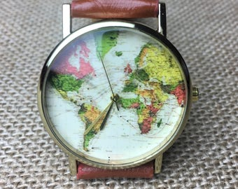 Watch with Free engraving watch, world map watch, watches for men, watches for women, black watch, design watch, c