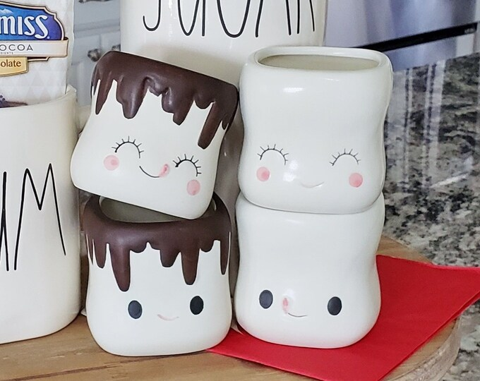 Cute Smiling Marshmallow Hot Cocoa Mugs Set of 4 (PRE-ORDER Feb-March)