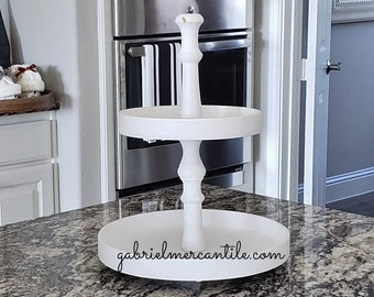 Round Rustic 11.75x15.5 White Wood Tier Tray Stand. Wood Riser. Wood Stand. Wood Tray. Wood Pedestal. Modern Farmhouse Decor. Rae Dunn.