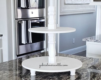 Round Birch Wood Tier Tray Stand with White Paint. Wood Riser. Wood Stand. Wood Tray. Wood Pedestal. Farmhouse. .