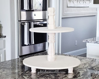 Round Birch Wood Tier Tray Stand in Antique White Color Stain. Wood Riser. Wood Stand. Wood Tray. Wood Pedestal. Farmhouse. Rae Dunn.