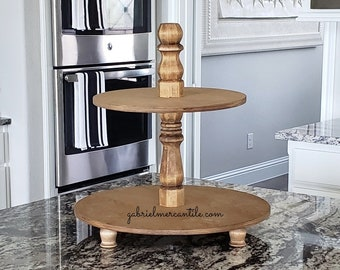 Round Birch Wood Tier Tray Stand in Golden Oak Color Stain. Wood Riser. Wood Stand. Wood Tray. Wood Pedestal. Farmhouse. Rae Dunn.