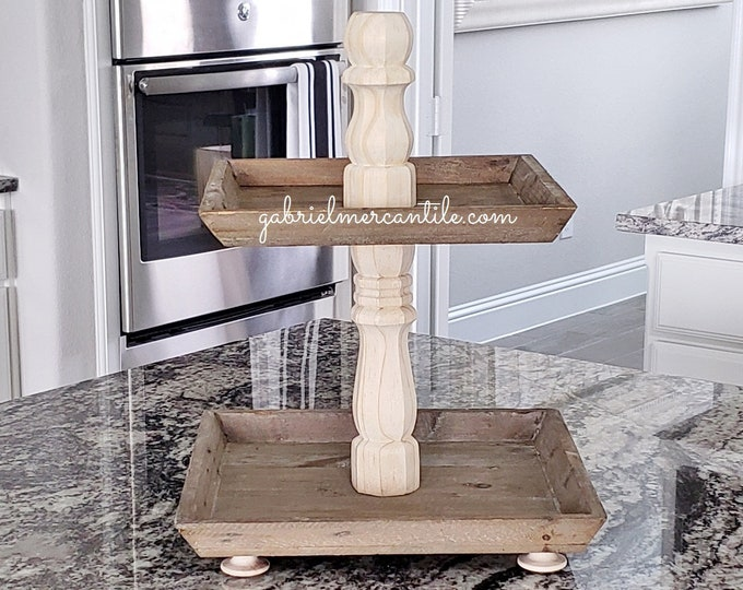Reclaimed Wood 2 Tier Square Tray Stand in Natural Birch Columns.