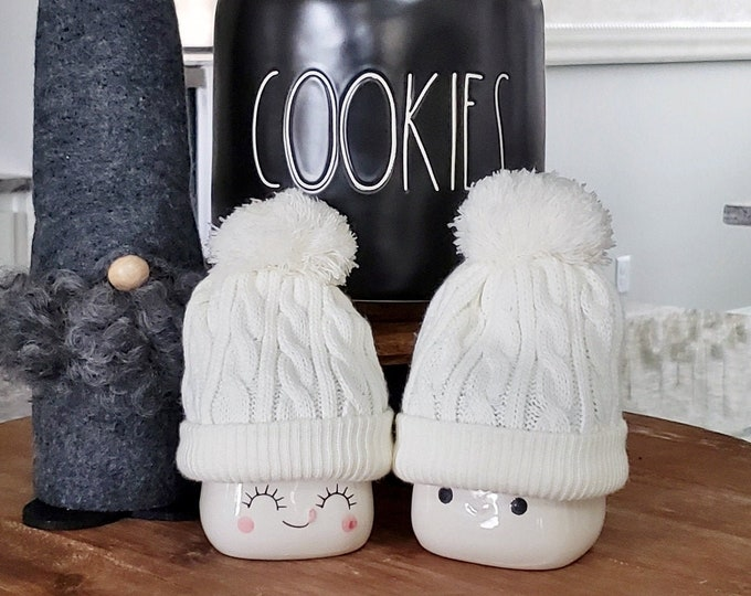White Knit Hats  for Marshmallow Mugs. Farmhouse Decor. Tier Tray Decor. Tier Stand Decor. Rae Dunn Decor.