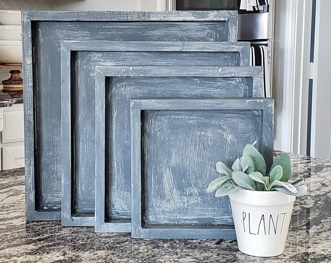 Custom Wood Square Nesting Vintage Trays Set in Gray Wash