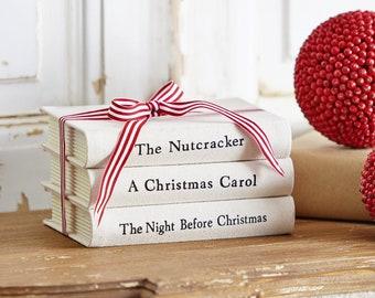 Country Christmas Book Stack. Farmhouse Book Stack. Faux Book Stack. Fake Book Stack.
