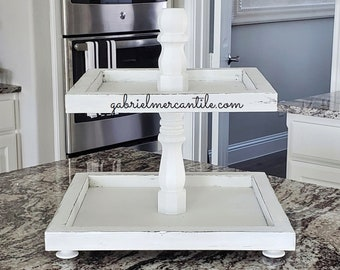 White Distressed Wood Tier Square Tray Stand. Tier Tray. Tier Stand. Tier Pedestal. Tier Riser. Farmhouse Tray. Farmhouse  Stand. Rae Dunn