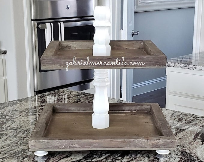 Distressed Wood Tier Square Tray Stand. Tier Tray. Tier Stand. Tier Pedestal. Farmhouse Tray. Farmhouse  Stand. Rae Dunn