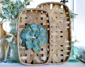 Seeded Eucalyptus Tobacco Basket Wreath.