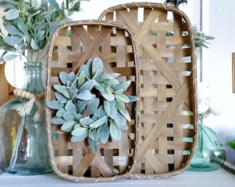 Lamb's Ear Tobacco Basket Wreath.