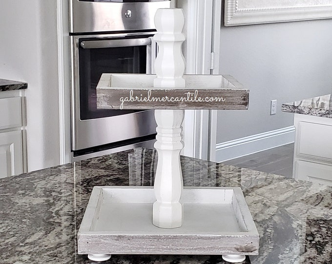 Rustic Wood 2 Tier Square Tray Stand in White Paint Color Columns.