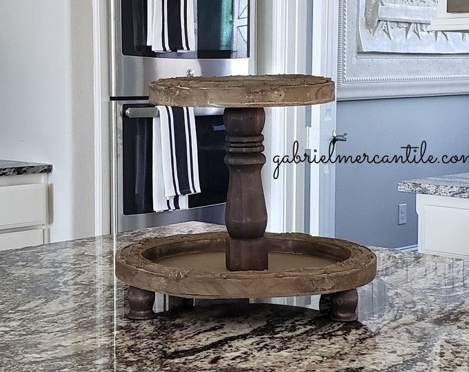 Ornate Vintage Round Wood Tier Tray Stand. Wood Riser. Wood Stand. Wood Pedestal. Wood Tray. Farmhouse. Rae Dunn. Rustic. Distressed.