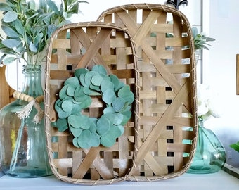 Silver Dollar Eucalyptus Tobacco Basket Wreath.