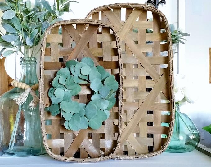 Silver Dollar Eucalyptus Tobacco Basket Wreath.